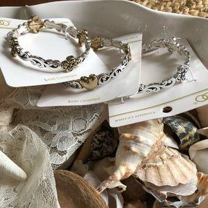 3 silver and gold stretch bracelets